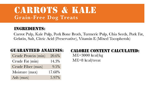 RRT Nutrition Facts for Carrots and Kale