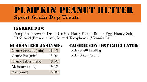 OBB Nutrition Facts for PB Pumpkin