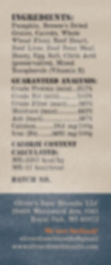 Butcher's Choice Nutrition Label