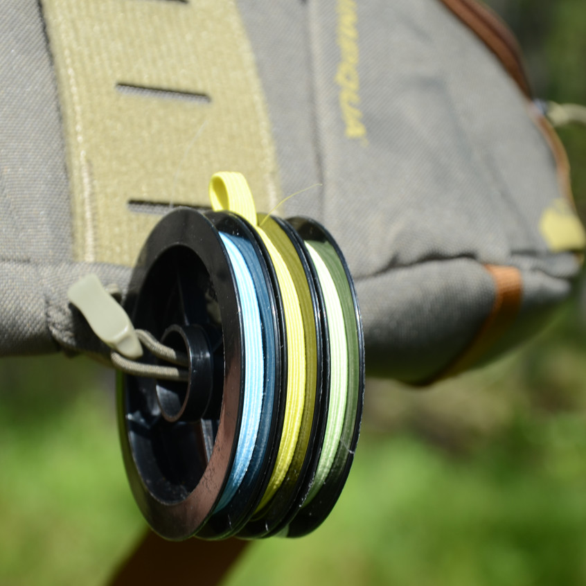 ...that can hold a handful of typical tippet spools comfortably.