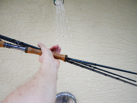 Rinsing Off a Fly Rod and Reel After Saltwater Fishing