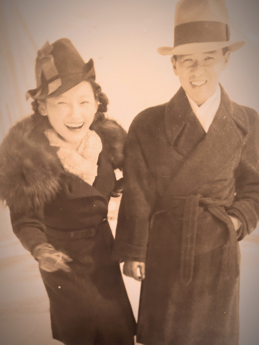 Taken in the 40's, this picture shows the couple after soon after they got married.
