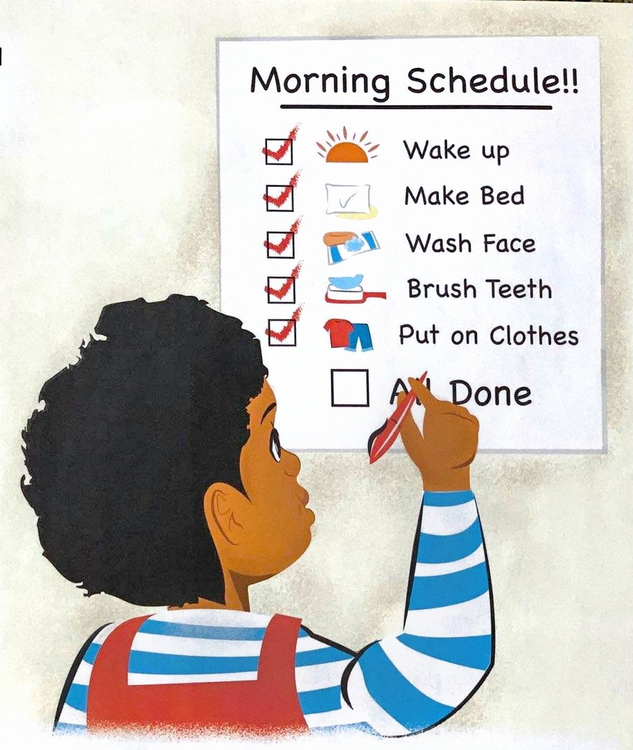 boy checking off tasks from schedule