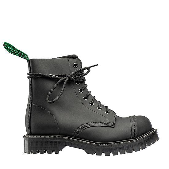 Solovair steel toe cap 8 eye boot in black greasy