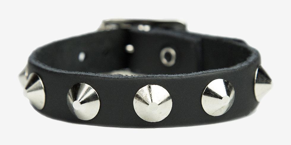 Напульсник- черный кожаный – 1 ROW NICKEL CONICAL STUDS