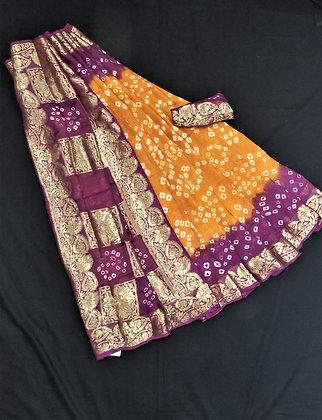 Rust orange with berry purple crepe silk bandni print inspired