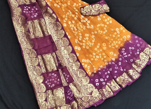 Rust orange with berry purple crepe silk bandni print inspired
