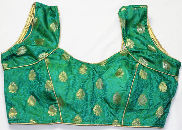 Green Blouse w/ Self Design (40'')