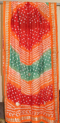 Red, Green and Orange Bandhej Dupatta