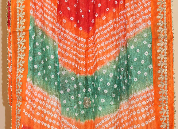 Red, Green and Orange Bandhej Dupatta