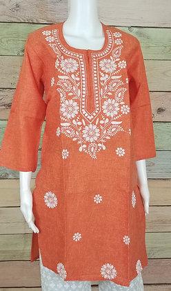 Orange Embroidered Cotton Kurti
