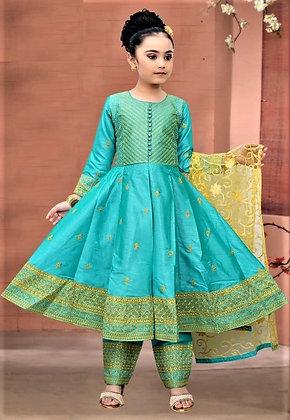 Teal green Child Salwar Kameez