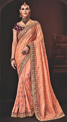 Fancy Peach Silk Georgette Sari