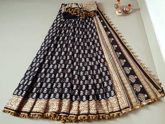 Black -beige cotton Mulmul Sari