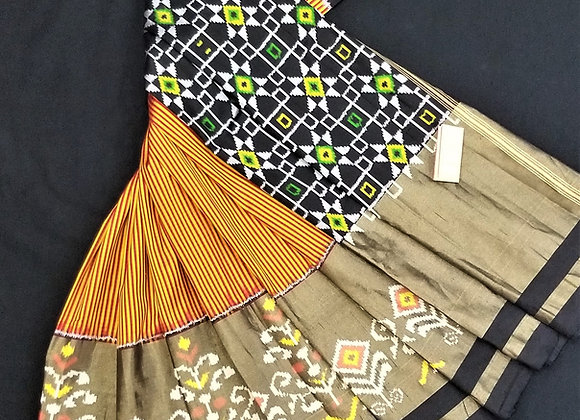 Yellow and Black Pochampalli saree