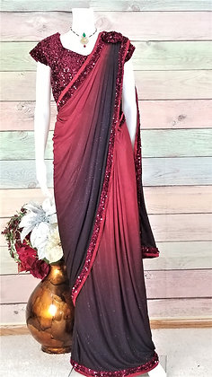 Red and maroon saree - Stitched Ready To Wear