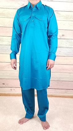 Blue Cotton Pathani Kurta-Pajama