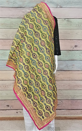 Yellow Colorful Phulkari Dupatta