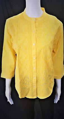 Short Yellow Lakhnavi Embroidered kurti
