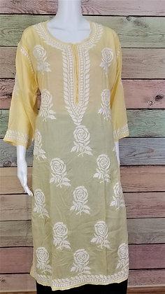 Soft Yellow Modal Cotton Kurti w/ Embroidery