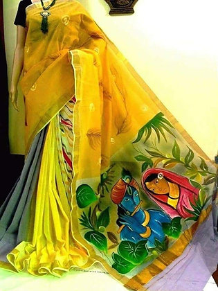 Kerala Cotton Hand painted Sari