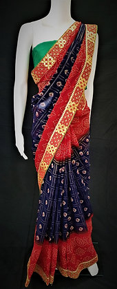 Red and Blue Bhandej printed Saree