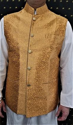 Golden self design Men Vest