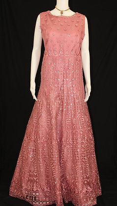 Rose Pink Indo-western Gown w/ Jacket shaped cover