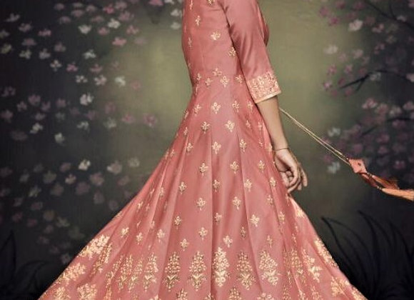 Beautiful Pinkish Indo-western Gown w/ Jacket shaped cover