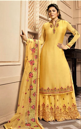 Yellow satin silk 2-Bottom Suit