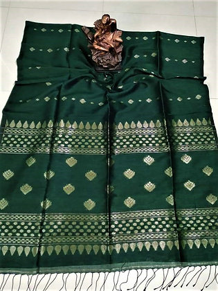 Dark Green handloom cotton linen saree
