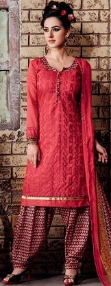Red self print Salwar Suit