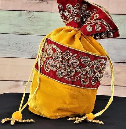 Yellow and Red Embroidered Potli Bag
