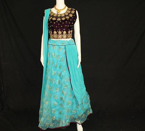 Brown and Blue-Ready to wear Crop Top