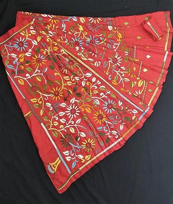 Red Banglori Silk Full embroidery Kantha work