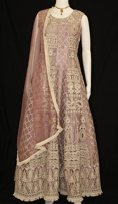Onion Pink Indo-western Gown w/cover