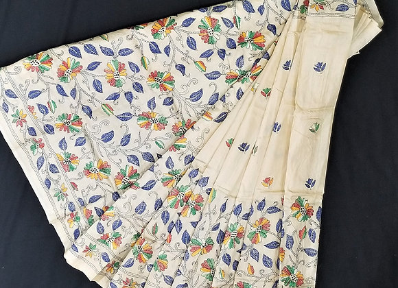 Pure Tussar Silk Hand Embroidered Kantha with Resham Thread Fawn