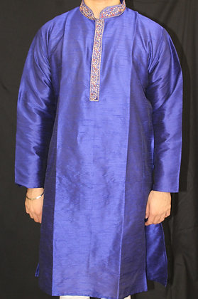 Blue silk kurta