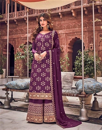 Berry embroidered Pallazo Suit  (S)
