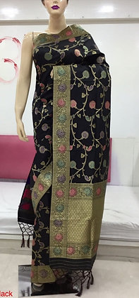 Black soft silk Banarasi inspired Sari