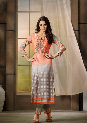 Orange Embroidered Kurti w/ Fawn Plazzo