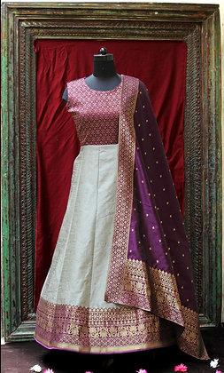 Light grey and pink w/Purple Silk dupatta