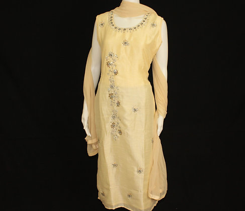 Beautiful Yellow readywear suit with embroidery