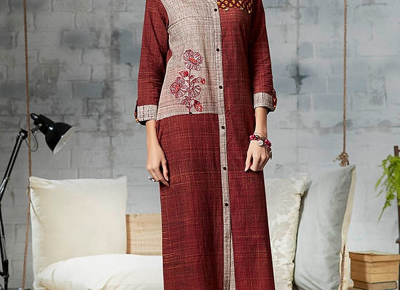 Maroon with Light Embroidery