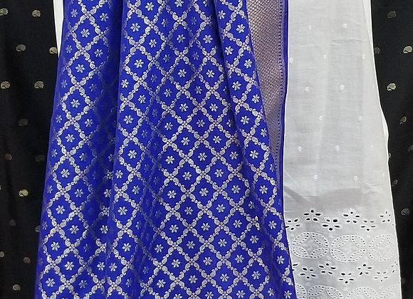 Royal Blue Silk Embroider Dupatta
