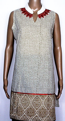 SLEEVELESS WHITE & CREAM COTTON KURTI TUNIC (L)