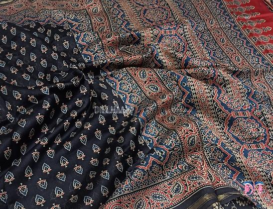 Ajrakh Black chanderi handloom saree