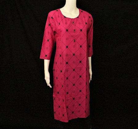 Rani Pink cotton long Kurti 3/4 sleeve