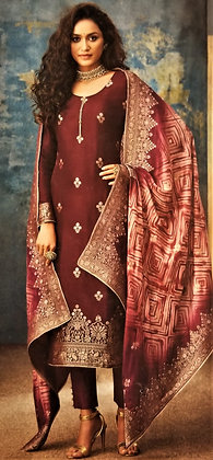 Maroon Silk Salwar Kameez
