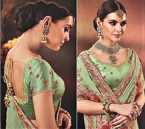 Pista Green Silk Georgette Sari